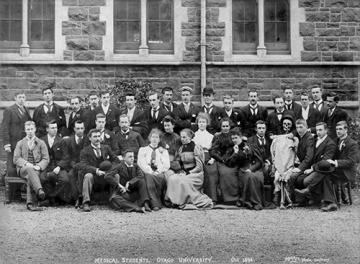 Medical Class of 1896, with their skeleton class mascot